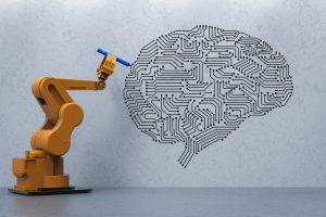 Robot drawing a brain circuit