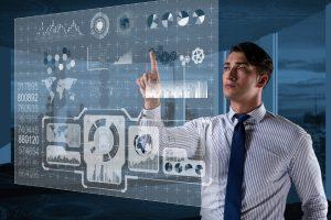 Man looking at a data dashboard
